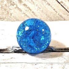"Vintage Vitro Aqua Turquoise Blue Crackle Marble .60"" Jewelry Fenton Glass #8"