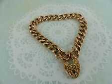 Antique Victorian 9ct Yellow Gold Patterned Bracelet and Padlock Catch