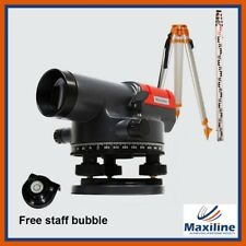 Automatic Dumpy Level w Tripod 5M Staff Rotary Rotating Base Builder's Levels
