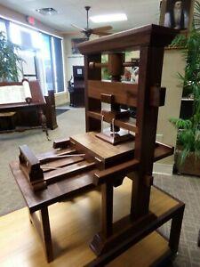 Gutenberg Bible Printing Press-- Museum Quality- Walnut & Cherry-1/3 Scale size