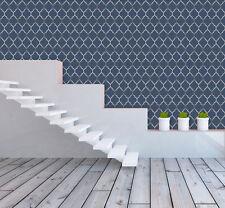 Embossed Vinyl Wallpaper Geometric Style Metallic Gloss Silver Blue By Rasch