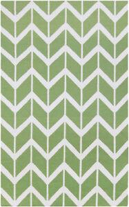 Surya Fallon Zig Zag Lime light  Green  Hand Woven Wool Rug 5' x  8'