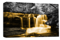Le Reve Waterfall Landscape Wall Art Orange Grey White Canvas Forrest Picture
