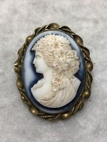 Antique Cameo Brooch 1910s Edwardian Opalescent Glass Brass Frame Retro Old