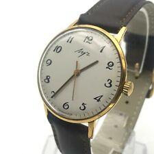 Fino Traje Urss Hombres Formal Reloj AU20 Clásico Luch 2209 Oro Chapado Probado