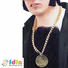 GOLD PIMP METAL MEDALLION ON CHAIN DISCO 70s - mens fancy dress accessory