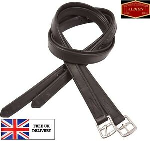 Albion Non Stretch Soft Calf Leather Wrapped Stirrup Leathers With Steel Buckles