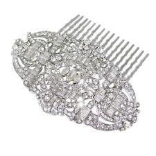 Bella Krystal Rhodium Plated Swarovski Crystal Hair Comb 8.3cm bridal gatsby