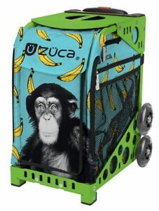 Zuca Monkey Business Sport Insert Bag and Green Frame with Flashing Wheels