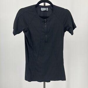 Athleta Top Pacifica Short Sleeve Solid Black 1/4 Zip Rashguard Stretch Size XS