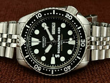 SCUBA PRO MOD VINTAGE SEIKO 6309-729A BLACK SLIM TURTLE AUTOMATIC MEN WATCH 7442
