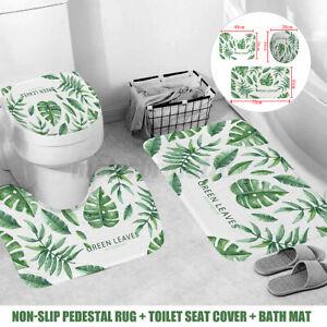 3pcs Shower Bathroom Carpet Non-Slip Pedestal Rug +Toilet Seat Cover+Bath Mat