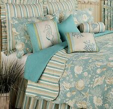Queen Quilt Set Tropical Beach Blue and Tan Shells Cotton