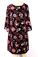 SANGRIA BRAND BLACK FLORAL TUNIC STYLE DRESS WITH BELL FLUTTER SLEEVE SIZE 14W