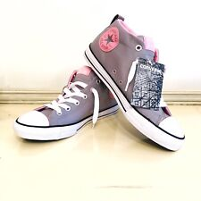 6fc1cb1c4d9e Youth Girls Size 6 Converse Chuck Taylors Shoes Gray Pink Silver Hi Top  Sneakers