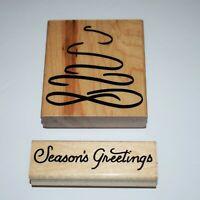 JRL Designs Rubber Stamps Seasons Greetings Christmas Tree Wood Mounted Stamp