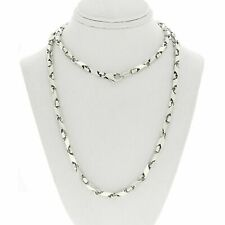 "14k White Gold Handmade Fashion Link Necklace 24"" 5mm 39 grams"