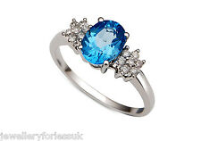 18Carat White Gold Swiss Blue Topaz & Diamond Cluster Ring 1.15 carats