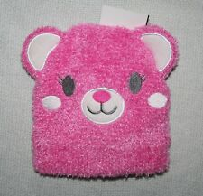 Laura Ashley Baby Girls Pink Fleece Teddy Bear Hat & Mittens Set Age 6-12 M