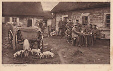 AK Polnische Wirtschaft Feldpostkarte 1915 Soldaten Heer Tiere Schweine