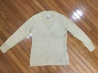 CHICOS Women's Gold Glitter Sweater V-neck Top Blouse Size 2