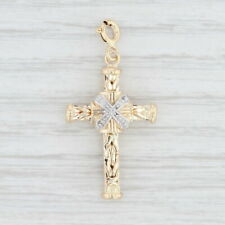 Ornate Cross Charm 14k Yellow Gold Diamond Accents Pendant Reversible