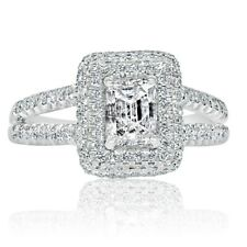 Ring Split Shank 14K White Gold Halo Emerald Cut 1.53 Carat Diamond Engagement