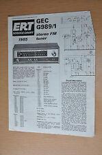 GEC G989/1 Stereo Tuner ERT Service chart 1985 1986 Vintage Service Manual