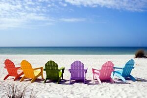 SUPERB COLOURFUL BEACH CHAIRS CANVAS #13 QUALITY CANVAS PICTURE WALL ART A1