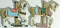 Used Collectible Vintage Carousel Horse Magnets Lot x2 Travel Refrigerator