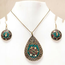 """BLUE TURQUOISE & CORAL GEMSTONE GOLD PLATED NEPALI EARRING & PENDANT SET 17-18"""""""