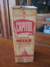 Vintage WAXED ONE QUART MILK CARTON Capitol Dairy Chicago, IL