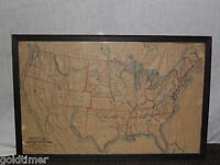 VINTAGE RAND McNALLY OUTLINE MAP of the UNITED STATES