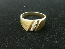 14k Men's Diamond Satin and Plain Gold Ring Band .25 ct size 10