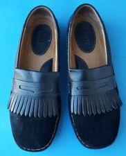 Born Shoes 8.5 40 M Women's Loafers Flats Black Leather Suede Kiltie Fringe