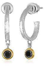 GURHAN Small Skittle Sterling Silver 5/8ct Black Diamond Hoop Earrings 24k Bezel