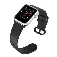 PASBUY 53B Women Genuine Leather Band for Apple Watch Series 4 40mm Black