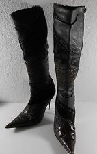 Aldo 6.5 Brown Leather Suede Textured Boots Stiletto Heels Pointy Toe