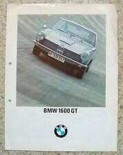 BMW 1600 GT Car Sales Brochure 1967 #12285 d 115 VIII 67 GERMAN TEXT