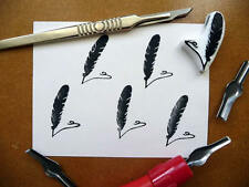 Feather Rubber Stamp Design, QUILL PEN, Main Carved, Fabric Stamp, Stamping Up