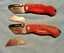 2 HUSKY BRAND RED HANDLE UTILITY KNIFE KNIVES BELT CLIP LOCKBACK GOOD USED COND