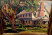VINTAGE HOWARD W KLIPPERT OIL PAINTING HOUSE TREE COLORFUL LANDSCAPE (1904-1985)