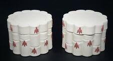 Wedgwood Jasperware Terracotta Primrose Yellow Bamboo Caneware Set of 2 Boxes