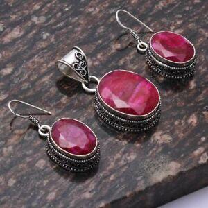 "Ruby Ethnic Handmade Pendant+Earring Antique Design Jewelry 1.8"" AP 45305"