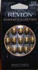 Revlon Runway Collection Nails Gold Glitter Medium Length 91102 w/Glue