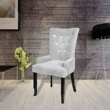 Luxury High Back Dining Chair Tufted Velvet Silver Accent Armchair Vintage Home
