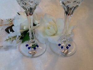 Royal Blue Crystal Bride And Groom Wine Glass Charms.Wedding.