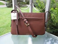 Fossil GEMMA SM Crossbody Pebbled Brown Leather Shoulder Bag Purse FREE SHIP