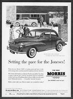 "1958 Morris 1000 Convertible & Sedan art ""Setting the Pace"" vintage print ad"