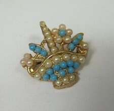 Vintage Basket Pin Brooch Pendant Turquoise Blue Pearl Gold Tone Metal